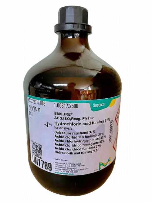 100317.2500HYDROCHLORIC ACID FUMINGMIN. 37% (ABOUT 1.19) GR2.5 L พร้อมส่ง